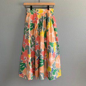 Vintage Kenar Ann Tjian Floral Midi Skirt Size 6